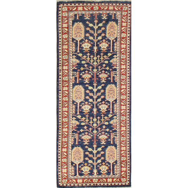 One-of-a-Kind Shealey Hand Woven Wool Dark Blue/Beige/Red Area Rug by Isabelline