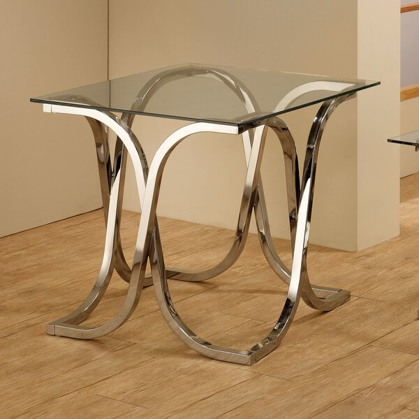 Gully Glass Top Abstract End Table by Everly Quinn Everly Quinn