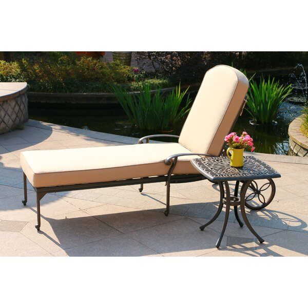 Baney Reclining Chaise Lounge with Cushion and Table by Canora Grey
