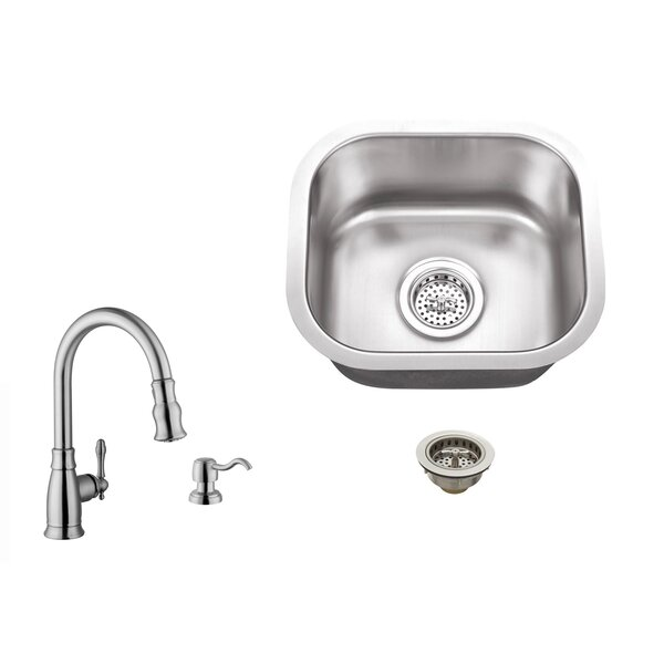 4.5 L x 13 W Undermount Bar Sink with Arc Faucet by Soleil
