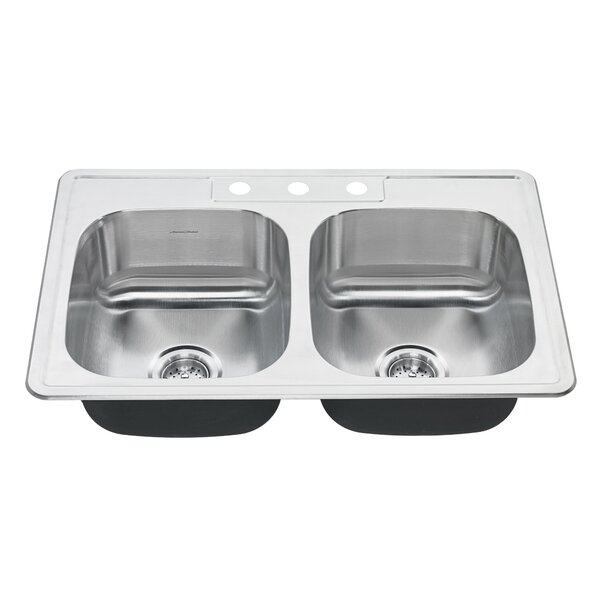 Colony 33 L x 22 W Double Basin Drop-In Kitchen Sink by American Standard
