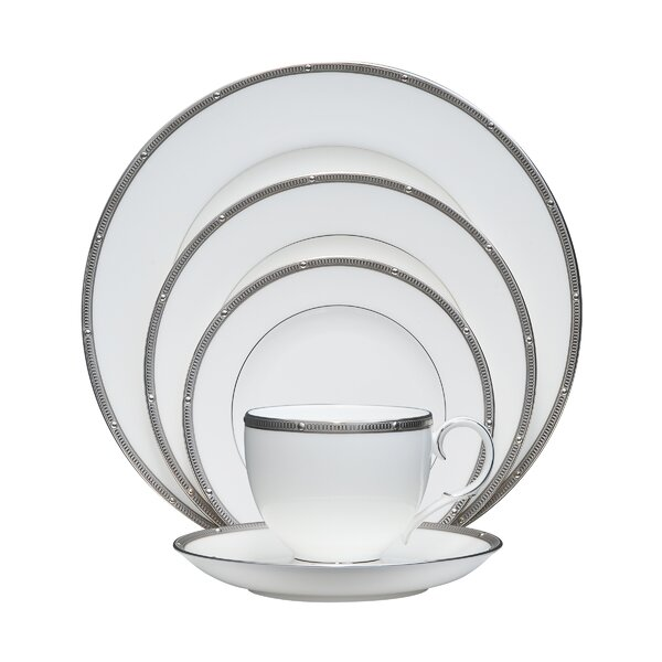 Rochelle Platinum Bone China 5 Piece Place Setting, Service for 1 by Noritake