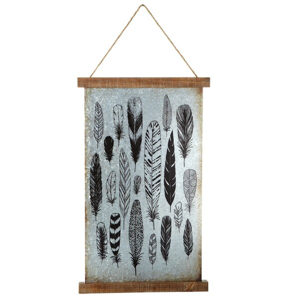 Galvanized Feather Print Wall Decor by Loon Peak