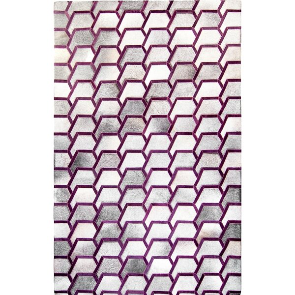 One-of-a-Kind Houghton-le-Spring Hand-Woven Cowhide Gray/Purple Area Rug by Brayden Studio