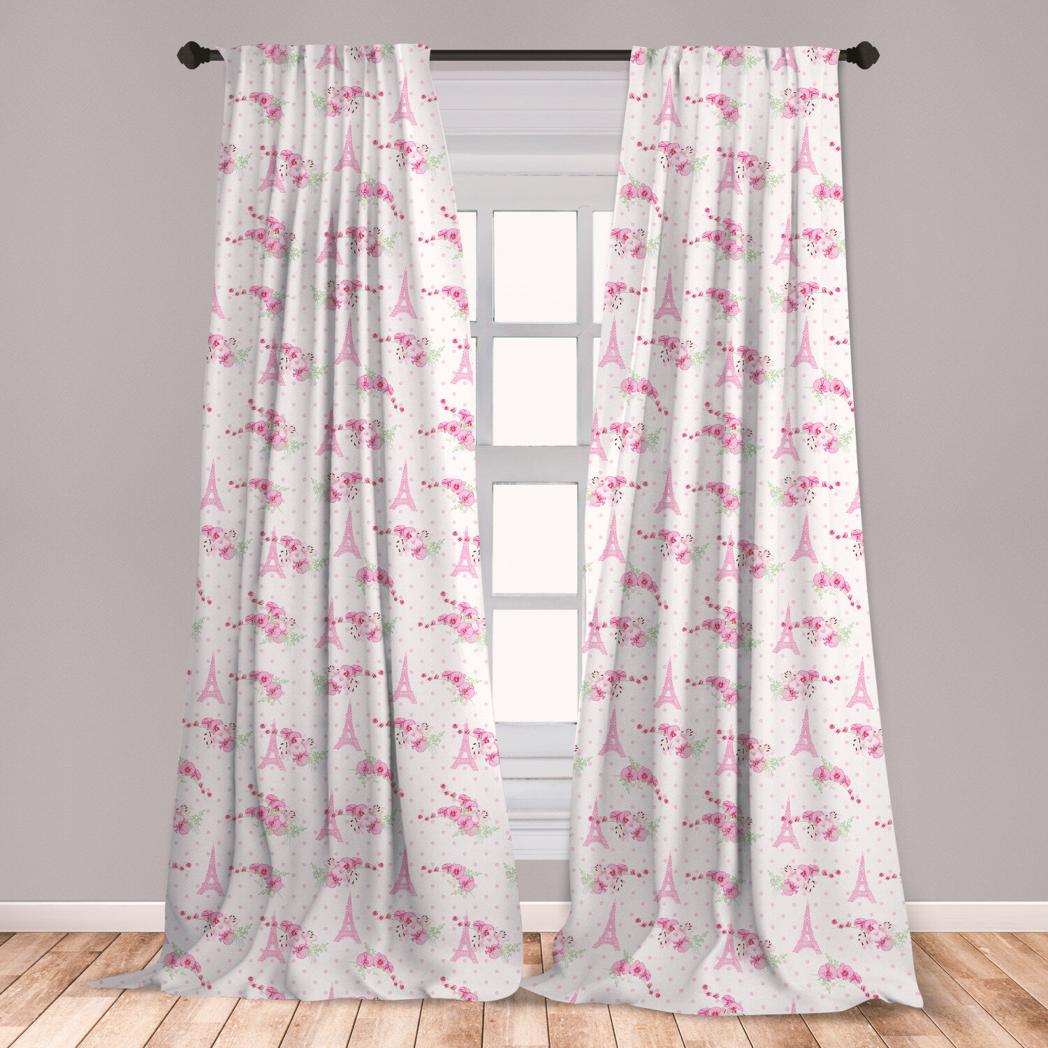 East Urban Home Ambesonne Eiffel Curtains Spring Inspiration Pink Flowers Bouquet And Paris Landmark On Polka Dots Window Treatments 2 Panel Set For Living Room Bedroom Decor 56 X 63 Pale Pink