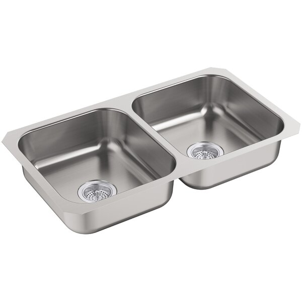 McAllister 32 L x 28 W Undermount Double Bowl Kitchen Sink by Kohler