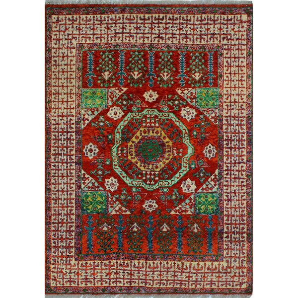 One-of-a-Kind Millender Kukua Hand-Knotted Wool Red Area Rug by Bloomsbury Market