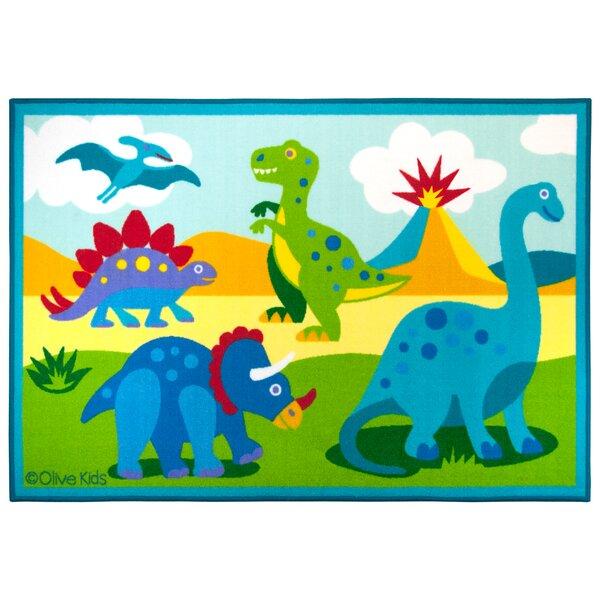 Olive Kids Dinosaur Land Blue/Green Area Rug by Wildkin