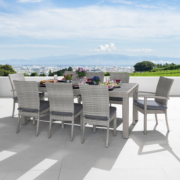 Castelli 9 Piece Dining Set with Cushions by Wade Logan