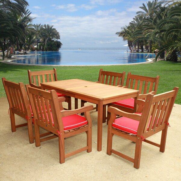Roussel 7 Piece Dining Set with Cushion by August Grove
