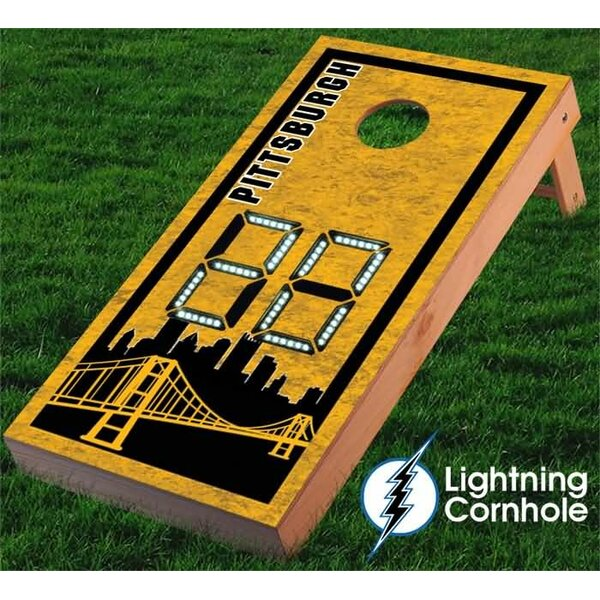 Electronic Scoring Pittsburgh Skyline Cornhole Board by Lightning Cornhole