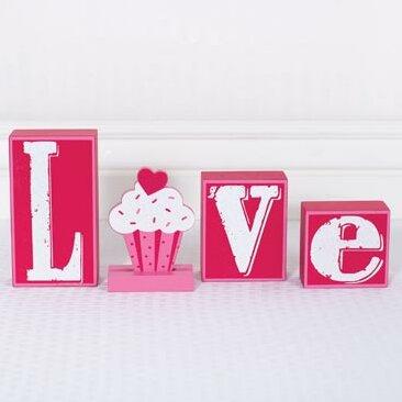 4 Piece Love Wood Block Set by Adams & Co