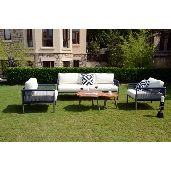 Shreffler 5 Piece Rattan Sectional Seating Group with Cushions by Bungalow Rose