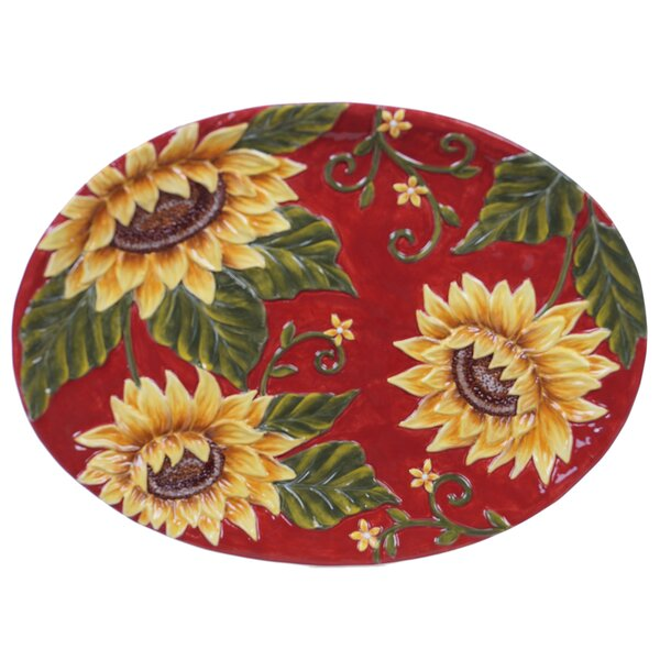 Whitehead Sunflower Platter by August Grove