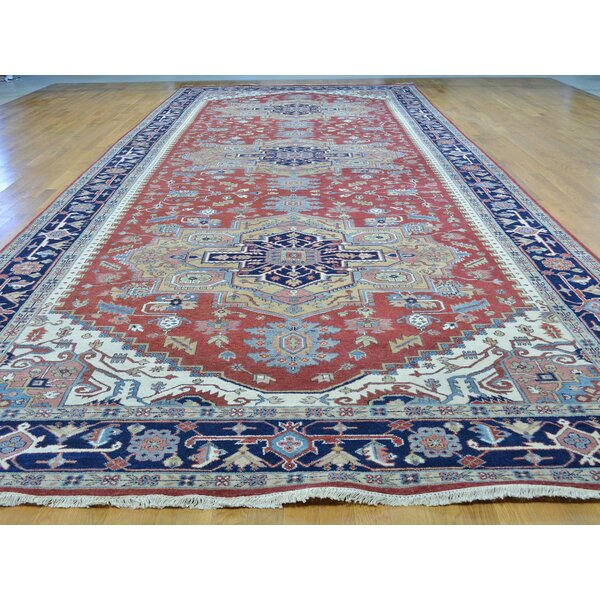 One-of-a-Kind Beare Hand-Knotted Red 9' x 24'8 Runner Wool Area Rug