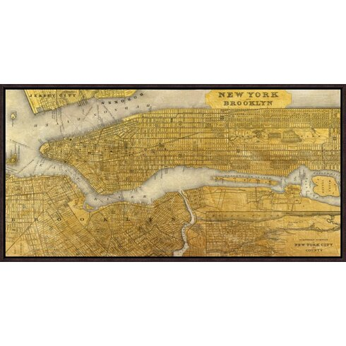 Global gallery gilded map of new york city by joannoo framed gilded map of new york city by joannoo framed graphic art on canvas sciox Images