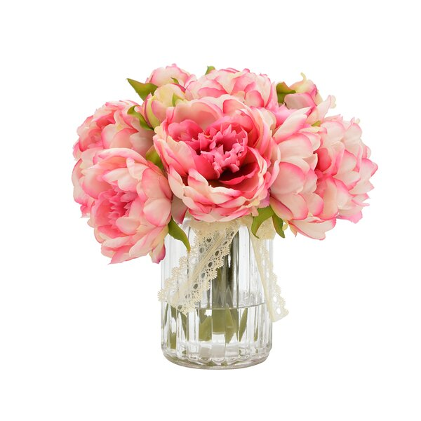 Bouquet of Peonies in Ribbed Glass Vase by One Allium Way