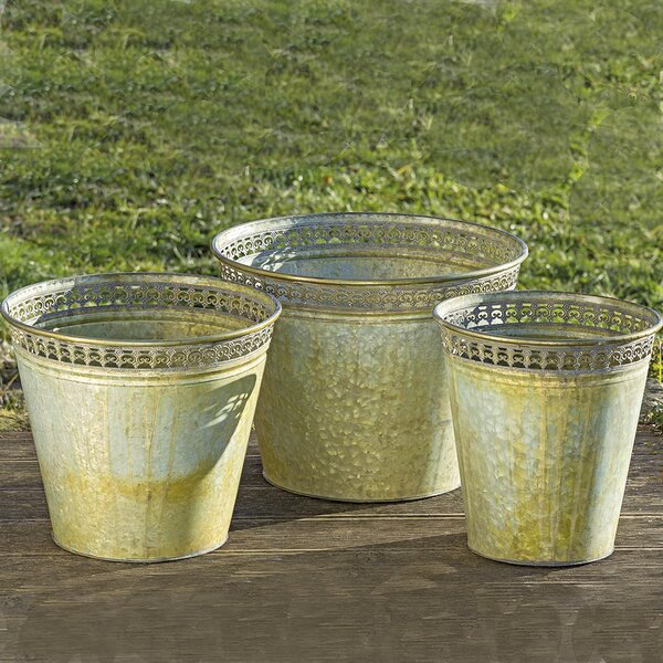 Short 3 Piece Metal Pot Planter Set by August Grove