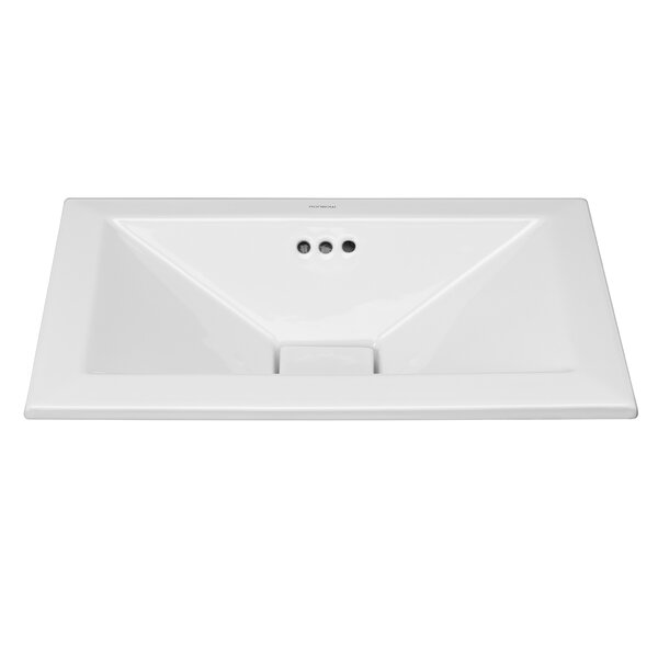 Pyramid Ceramic Rectangular Drop-In Bathroom Sink with Overflow by Ronbow