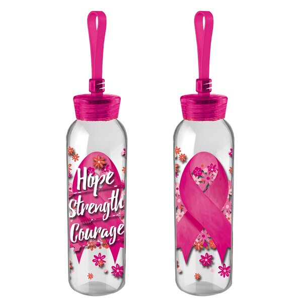 Kaelin Hope Strength Courage 18 oz. Glass Water Bottle by Latitude Run