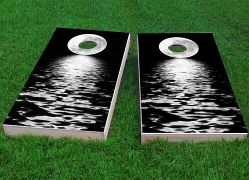 Full Moon Over the Water Cornhole Game (Set of 2) by Custom Cornhole Boards