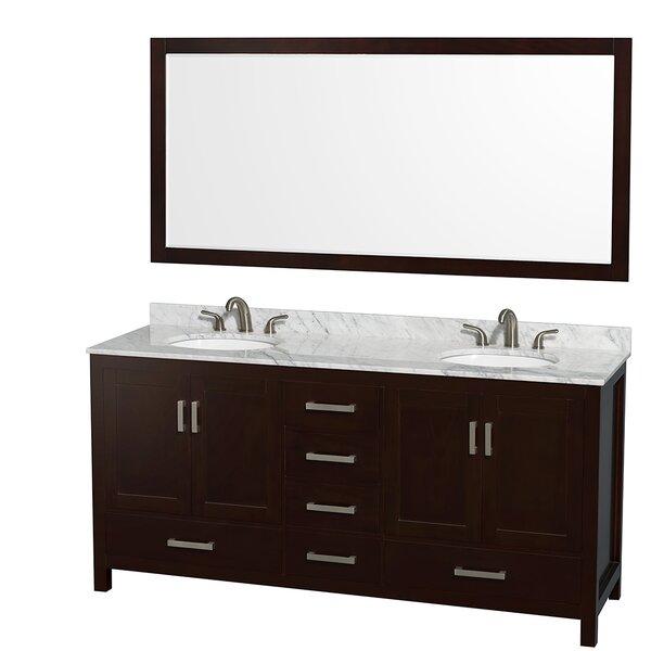 Sheffield 72 Double Espresso Bathroom Vanity Set with Mirror by Wyndham Collection