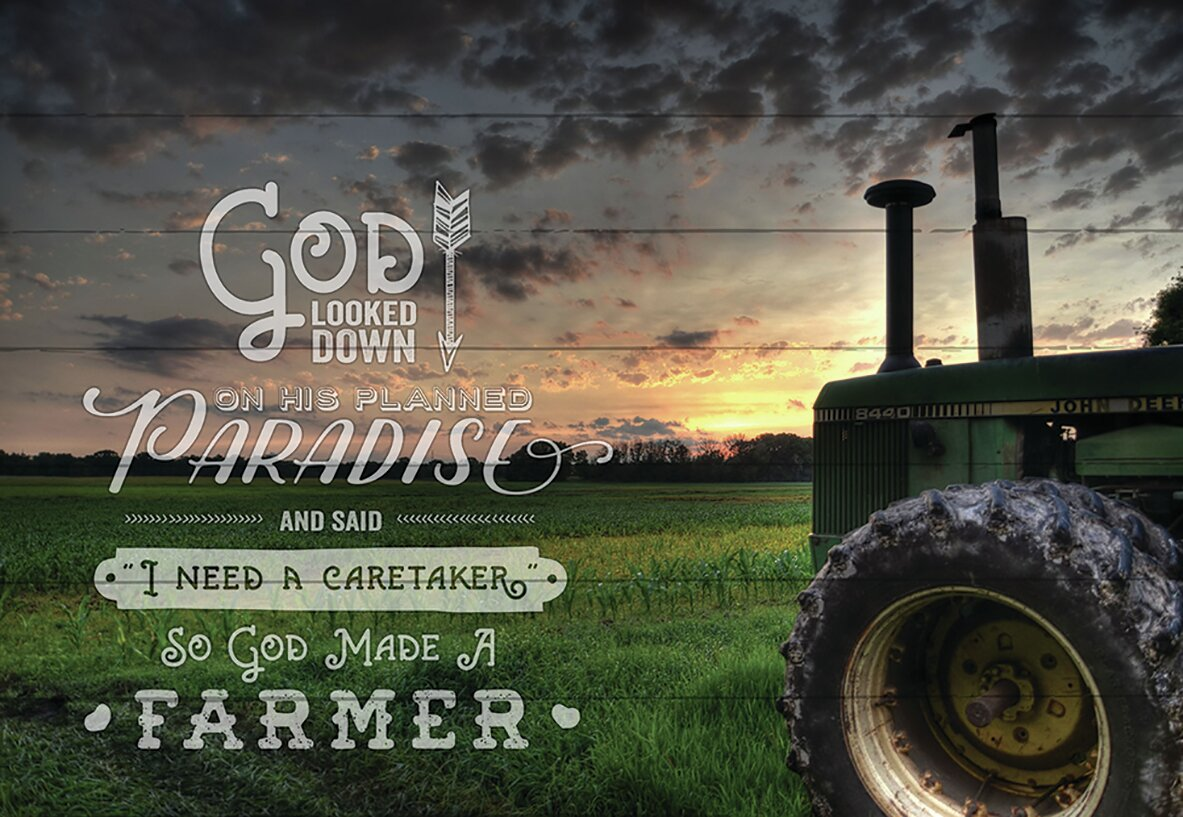 North American Art Tractor Sunset With So God Made A Farmer Pallet