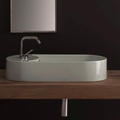 Seventy Ceramic Oval Vessel Bathroom Sink with Overflow