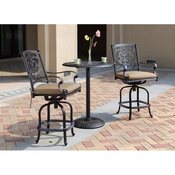Palazzo Sasso 3 Piece Counter Height Bar Dining Set With Cushions By Astoria Grand
