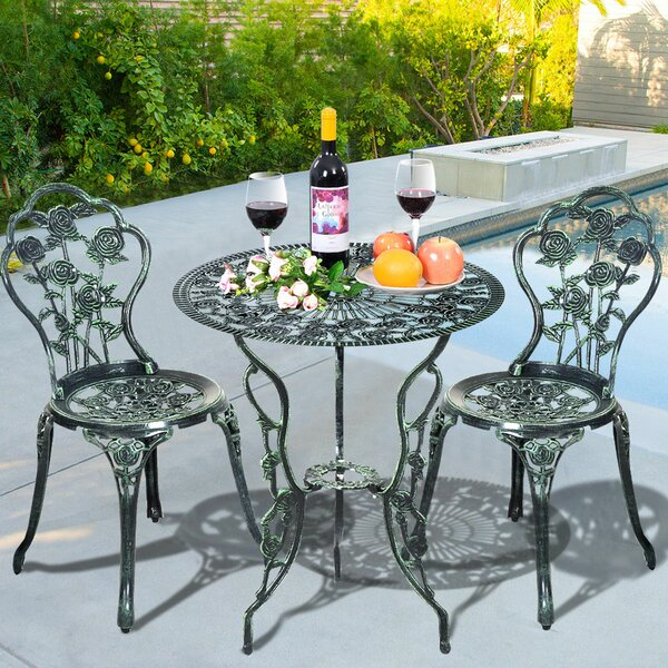 Hartsfield Patio Cast Aluminum Rose 3 Piece Bistro Set by Fleur De Lis Living