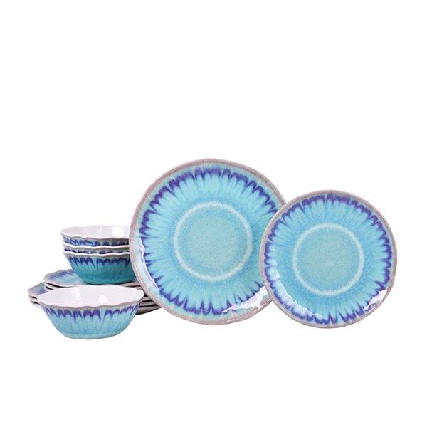 Sea Splash 12 Piece Melamine Dinnerware Set, Service for 4 by 222 Fifth