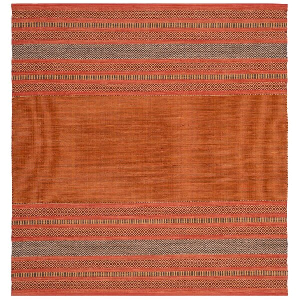 Bokara Hills Hand-Woven Orange/Red Area Rug by World Menagerie