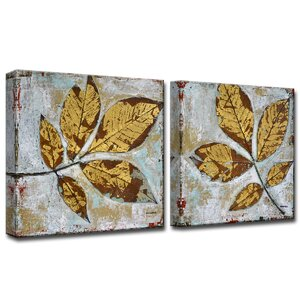 'Gilded Autumn Leaves' by Norman Wyatt Jr. 2 Piece Painting Print on Wrapped Canvas Set by Ready2hangart