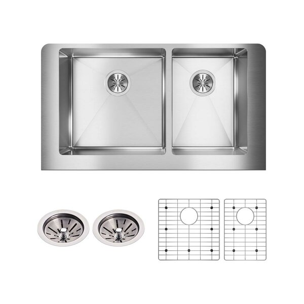 Crosstown 36 x 20 Double Basin Farmhouse Kitchen Sink with Sink Grid and Drain Assembly by Elkay