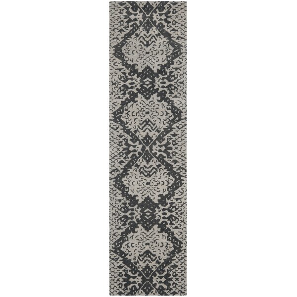 Kouerga Hand-Tufted Gray/Black Area Rug by Bungalow Rose