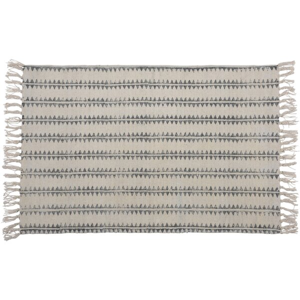 One-of-a-Kind Orchard Street Hand-woven Cotton Gray Area Rug by Union Rustic