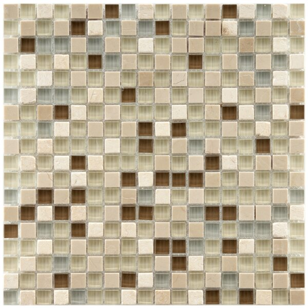 Sierra 0.58 x 0.58 Glass and Natural Stone Mosaic Tile in Multi-colored by EliteTile