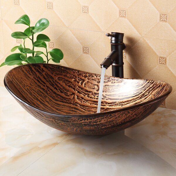 Hot Melted Tree Bark Boat Glass Oval Vessel Bathroom Sink by Elite