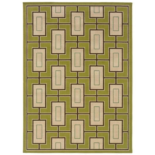 Emelle Green/Ivory Indoor/Outdoor Area Rug by George Oliver