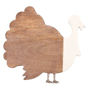 Thanksgiving Wood and Enamel Turkey Cheese Board