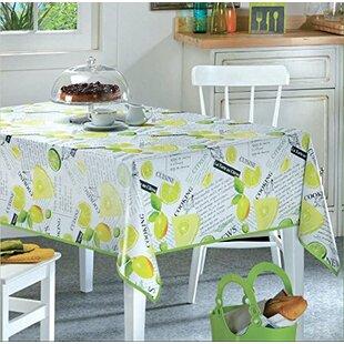 Marta Lemon Lime Vinyl Indoor/Outdoor Non Woven Backing Kitchen Picnic  Tablecloth