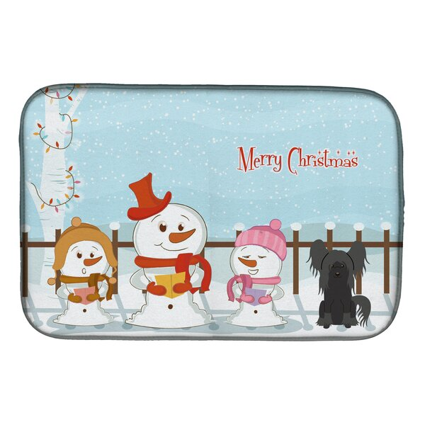 Merry Christmas Carolers Chinese Crested Dish Drying Mat by Caroline's Treasures