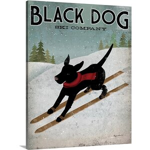'Black Dog Ski' by Ryan Fowler Vintage Advertisement on Wrap Canvas by Great Big Canvas