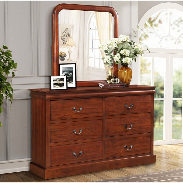 Dresser Mirror Nightstand Oak Finish by Canora Grey
