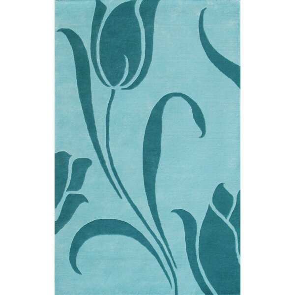 Floral Light Blue Area Rug by Noble House