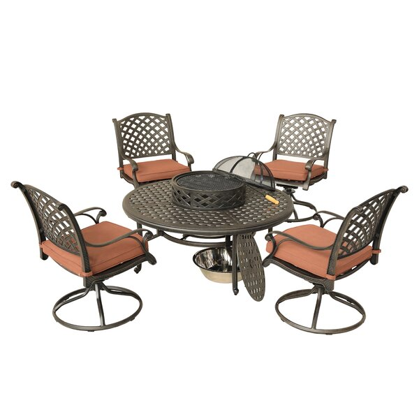 Bigby 5 Piece Dining Set with Cushions by Charlton Home