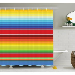 Affordable Price Mexican Horizontal Colored Ethnic Blanket Rug Lines Pattern Bright Decorative Design Shower Curtain Set By Ambesonne