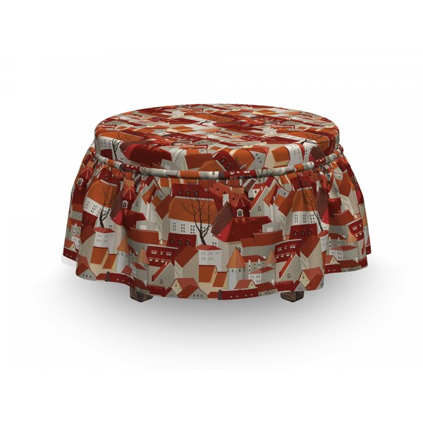 City Tile Roof Urban 2 Piece Box Cushion Ottoman Slipcover Set By East Urban Home