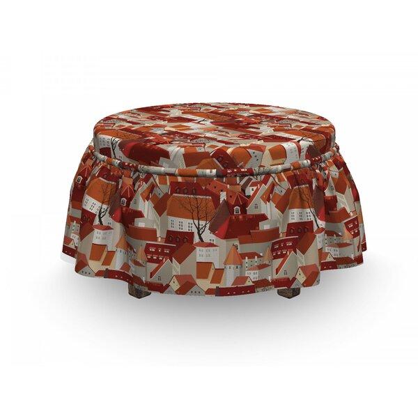 Discount City Tile Roof Urban 2 Piece Box Cushion Ottoman Slipcover Set