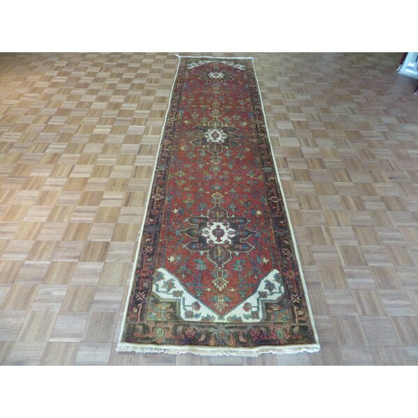 One-of-a-Kind Josephson Antiqued Serapi Heriz Hand-Knotted Wool Rust Red Area Rug by Canora Grey
